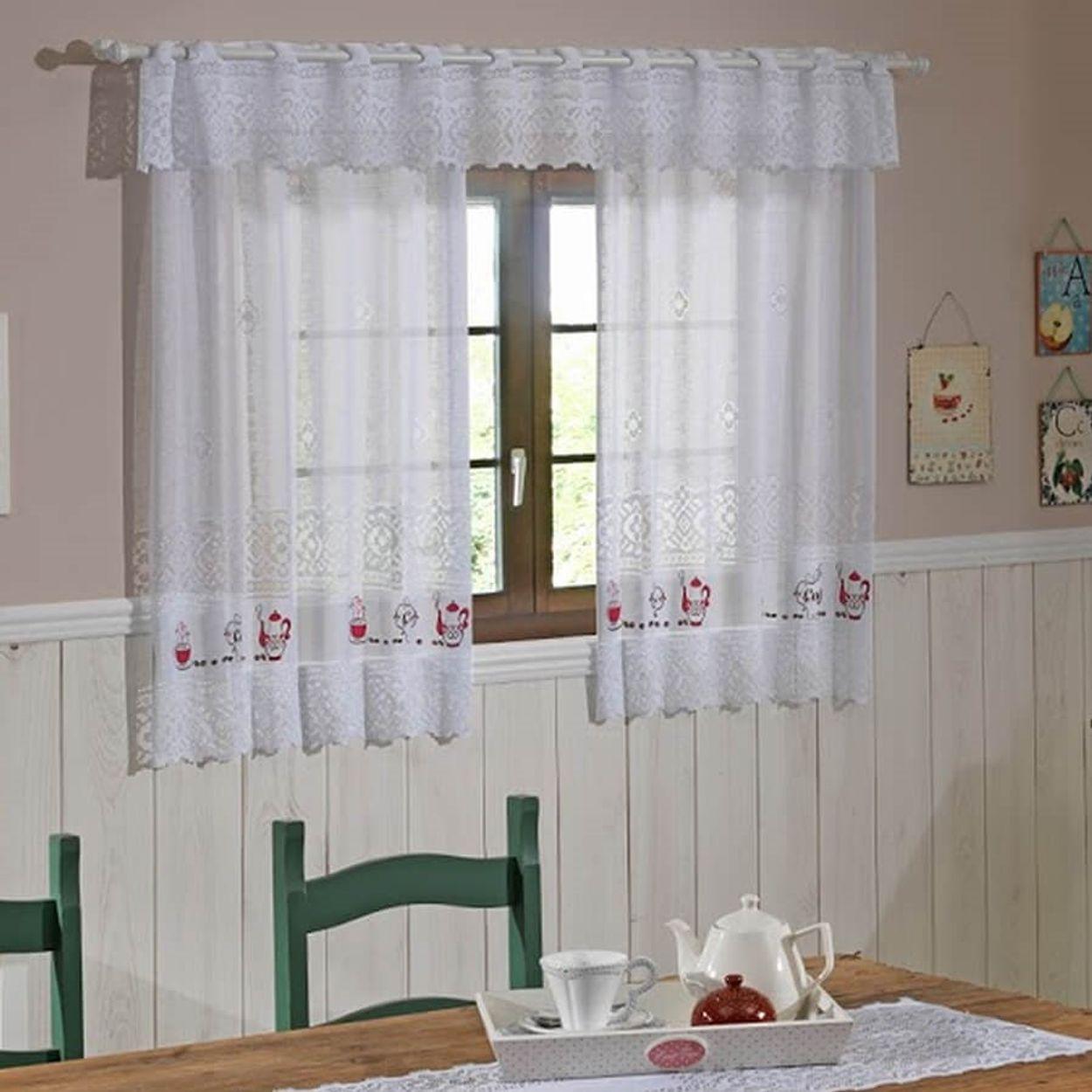 Image of: Cortina Para Cozinha Interlar 200×150 Cm Renda E Bando 30 Cm Cafe Lojas Donna