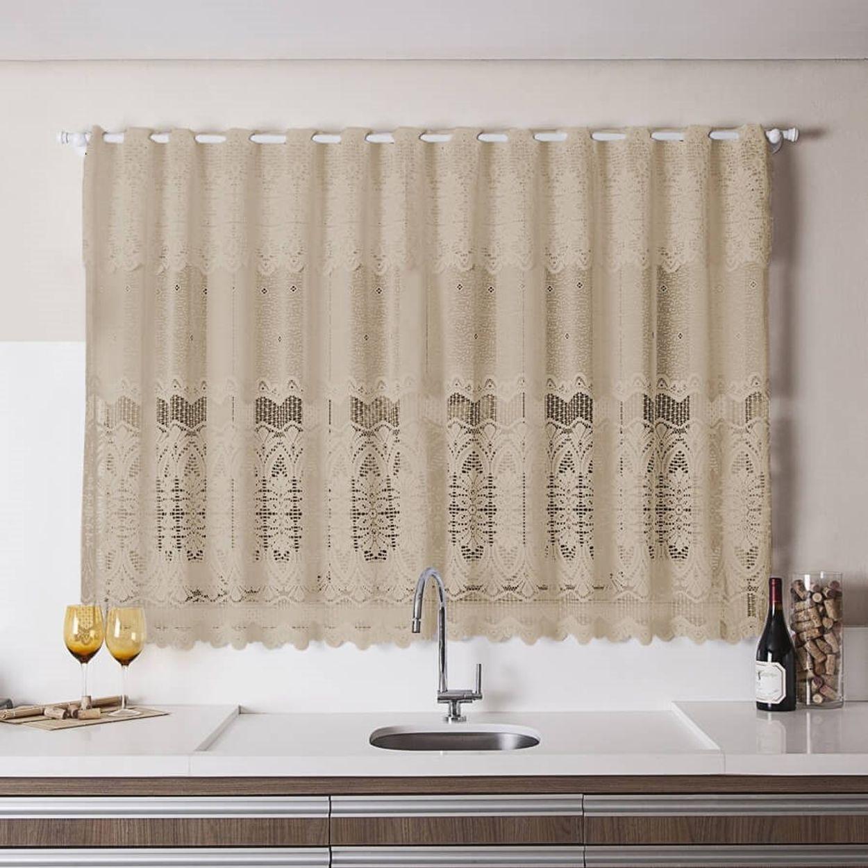 Image of: Cortina Para Cozinha Donna Inter 280×150 Cm Renda Arabesco Desert Com Lojas Donna